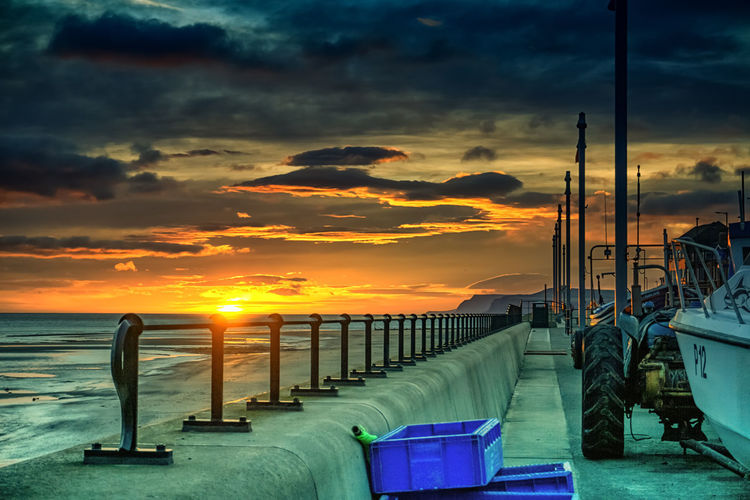 Coastline Colourful Nautical Equipment Railing Sunlight Sunset Silhouettes Sunset_collection Tractor Boat Boats Clouds Coast Coastal Feature Nautical Nautical Theme Nautical Vessel Posts Railing _ Collection Railings Railings And Iron Redcar Sun Sunset Sunsets Tractors