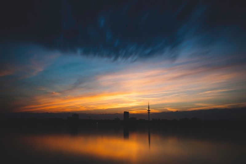 Sunset Sky Cloud - Sky Water Orange Color Nature Architecture Scenics - Nature Beauty In Nature Silhouette Built Structure Building Exterior Reflection No People Environment Tower Tranquility Industry Outdoors Pollution Capture Tomorrow