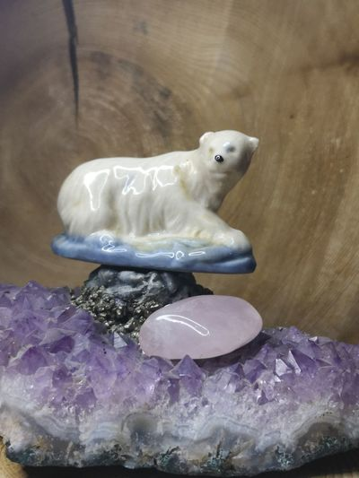 Close-up of stuffed toy on rock