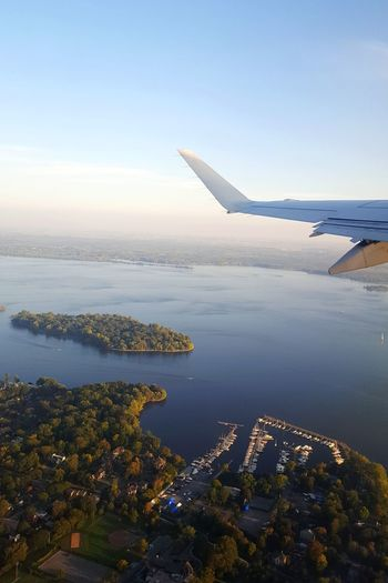 Flying out of Montreal Sky Airplane Travel Destinations Canada Quebec Old Montreal Montréal Colorful Trees And Sky Flight View