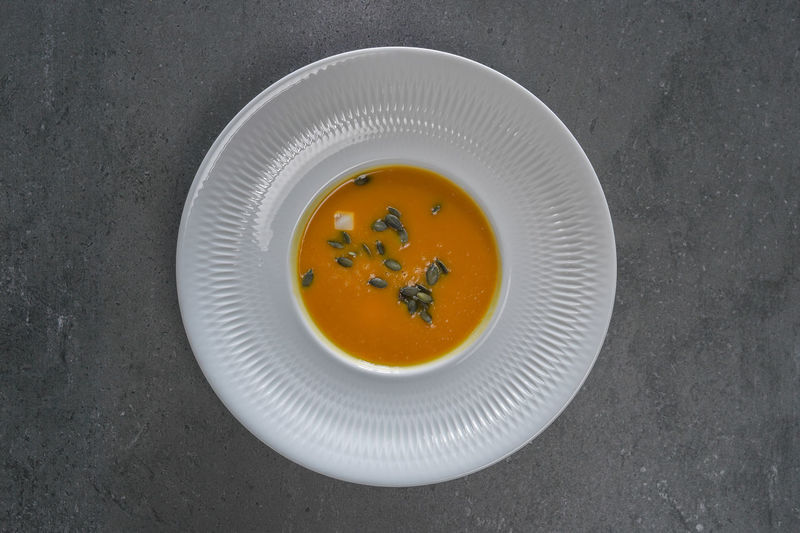 High angle view of soup in bowl on table