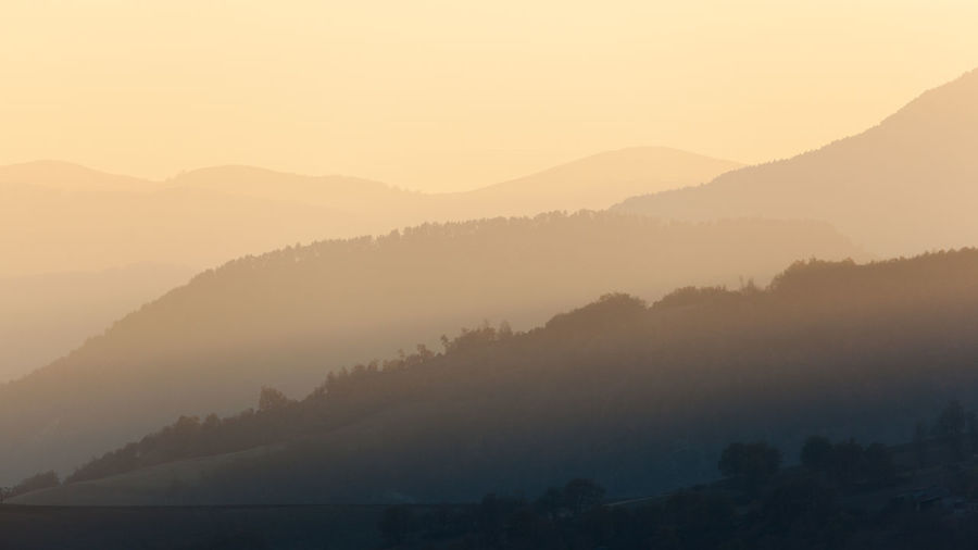 Shades of Sunlight Hills Shades Fog Hazy  Landscape Landscapes Morning Mountain Mountain Range Nature No People Non-urban Scene Outdoors Scenics - Nature Silhouette Sunset Tranquil Scene Tranquility