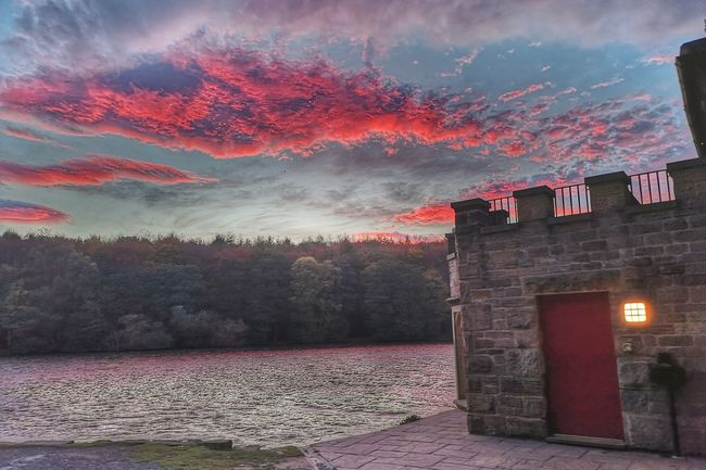 Mountain Illuminated Red Ancient Sunset History Sky Landscape Architecture Dramatic Sky Castle