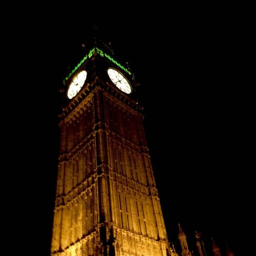 Clock Time City Night Cultures Midnight Tower Architecture London Bigbang Green First Eyeem Photo