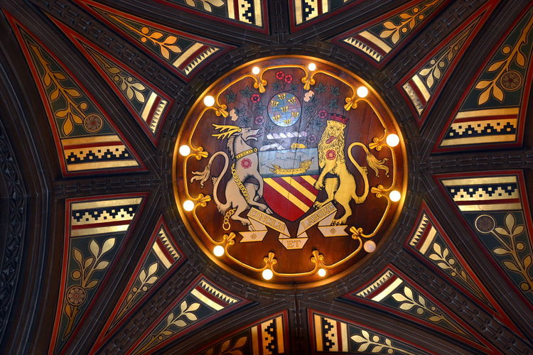 Architecture Ceiling Detail Concilio Et Labore Low Angle View Manchester Manchester City Council Manchester Town Hall No People Victorian Building