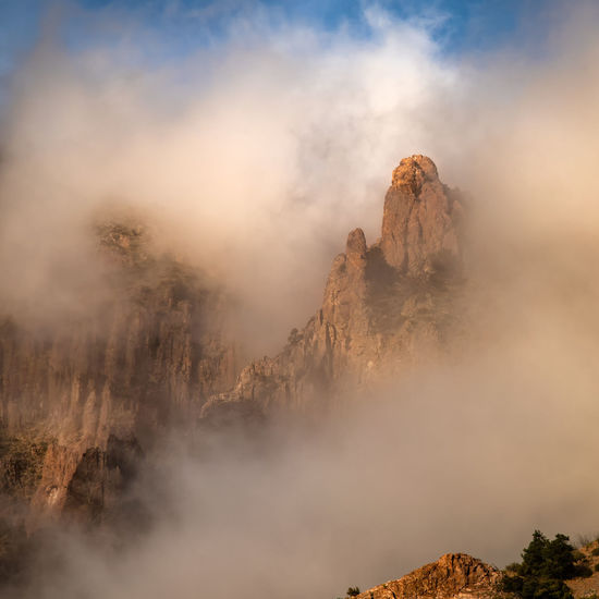 Foggy view of mountain against sky in big bend national park - texas