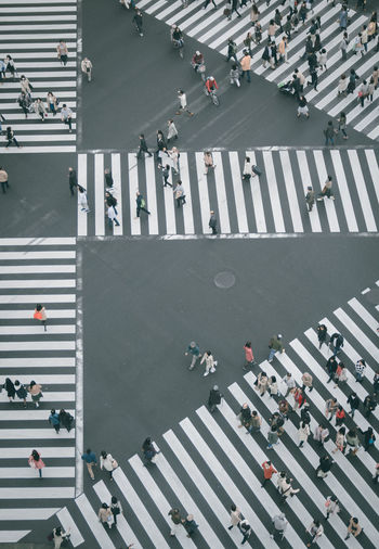 High angle view of crowded walking on zebra crossing
