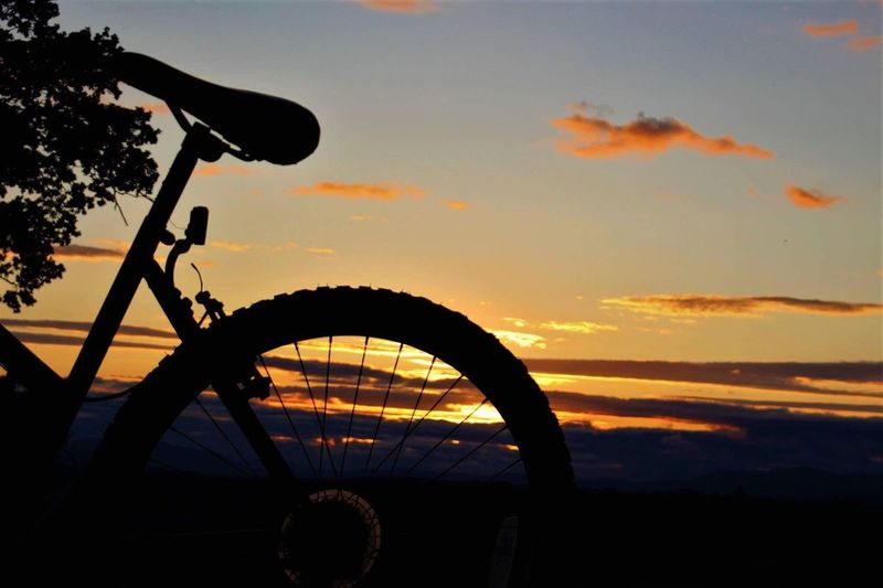 Low angle view of silhouette bicycle against sky