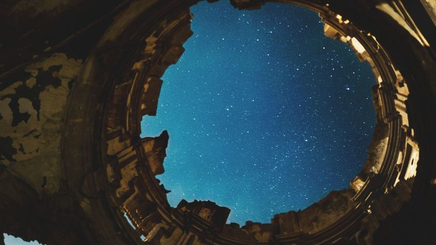 View from the ground. Lumix Lumixg7 EyeEm Selects Astronomy Galaxy Space Star - Space Planet Earth Milky Way Fish-eye Lens Arch Sky Architecture Constellation Star Field Amphitheater Orion Nebula Infinity Go Higher This Is Queer
