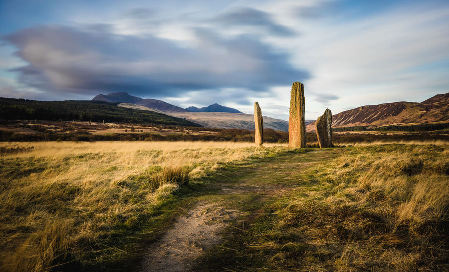 Standing Stones - Machrie moor Ancient Celtic Celtic Cross Clouds Machrie Moor Monument Mountains Standing Stones Stone