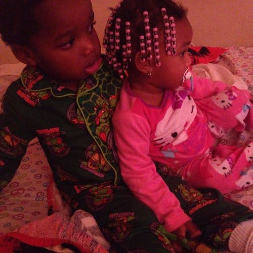 Brother and sister love. They watching lion king for the 1,000,000,000,000,001 time lol Pjs Hellokitty Ninjaturtles Nighttimovie lionking