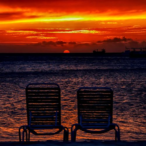 Sea Sunset Orange Color Nature Beauty In Nature Scenics Horizon Over Water Sky Tranquility Chair Water Beach No People Cloud - Sky Twochairs Sunset_collection