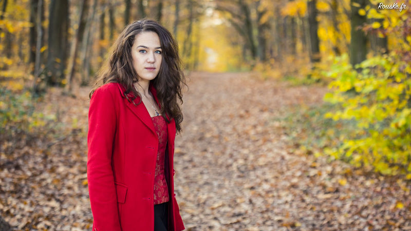 Little Red Riding Hood Adult Adults Only Autumn Beautiful People Beautiful Woman Beauty Brown Hair Chaperon Rouge Fashion Focus On Foreground Forest Leaf Long Hair Looking At Camera Nature One Person One Woman Only One Young Woman Only Only Women Outdoors People Portrait Red Standing Tree Young Adult