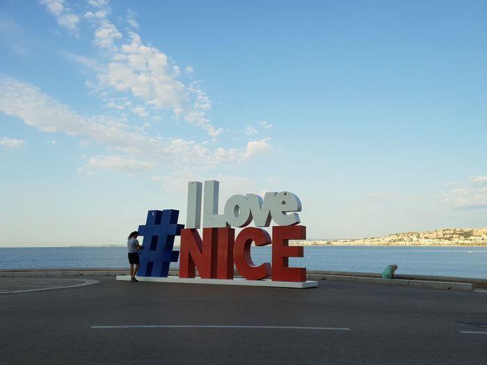 i love Nice Nice I Love I Love Nice Sea Beach Water Sea Beach Sand Lifeguard  Blue Wave Summer Sky Horizon Over Water
