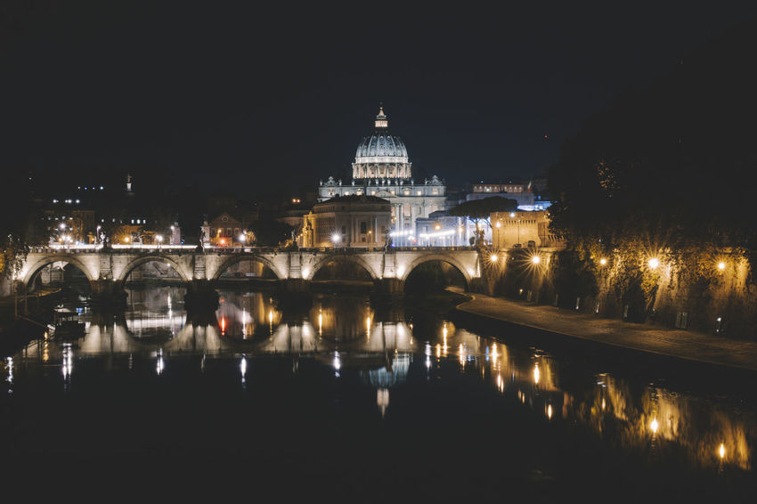 Vatican Architecture Building Exterior Built Structure City Dome History Illuminated Night No People Outdoors Place Of Worship Reflection Sky Travel Destinations Water