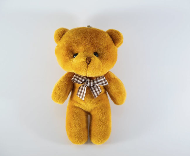 Animal Representation Brown Childhood Close-up Copy Space Creativity Cut Out Indoors  Representation Single Object Softness Still Life Studio Shot Stuffed Toy Teddy Bear Toy Toy Animal White Background Yellow
