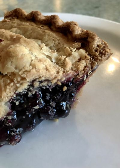 Blueberry pie. Blueberry Pie Food Slice Of Pie Blueberries Blueberry Pie Indulgence Still Life Pie Crust Baked Plate Sweet Food Serving Size Dessert Vertical Close-up