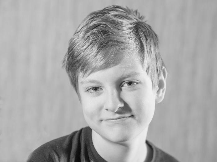 Close-up portrait of smiling boy