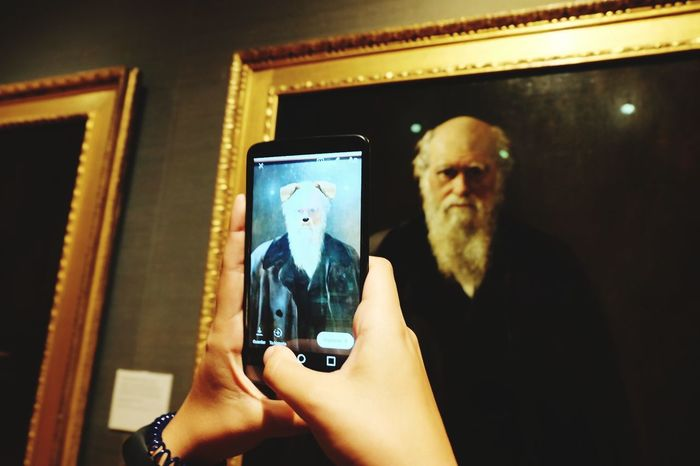 Millennials Portrait Indoors  Dog Filter Millennials New Portrait Way Device Screen Photo Of Photo Young People Holding Darwin National Portrait Gallery London