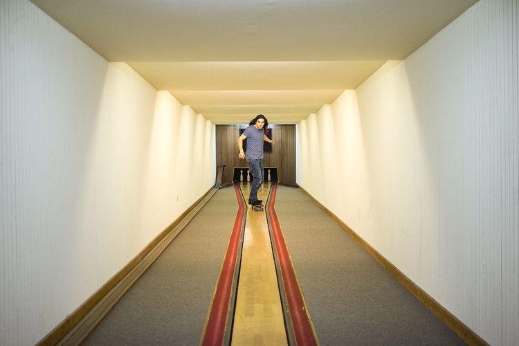 Rear view of corridor