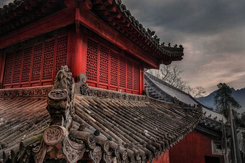 Temple in Wuhan, China where Taoists pray and young children train for martial arts. China Asian  Temple Temple Architecture Architecture Travel Destinations Religion Red Outdoors Building Exterior Day