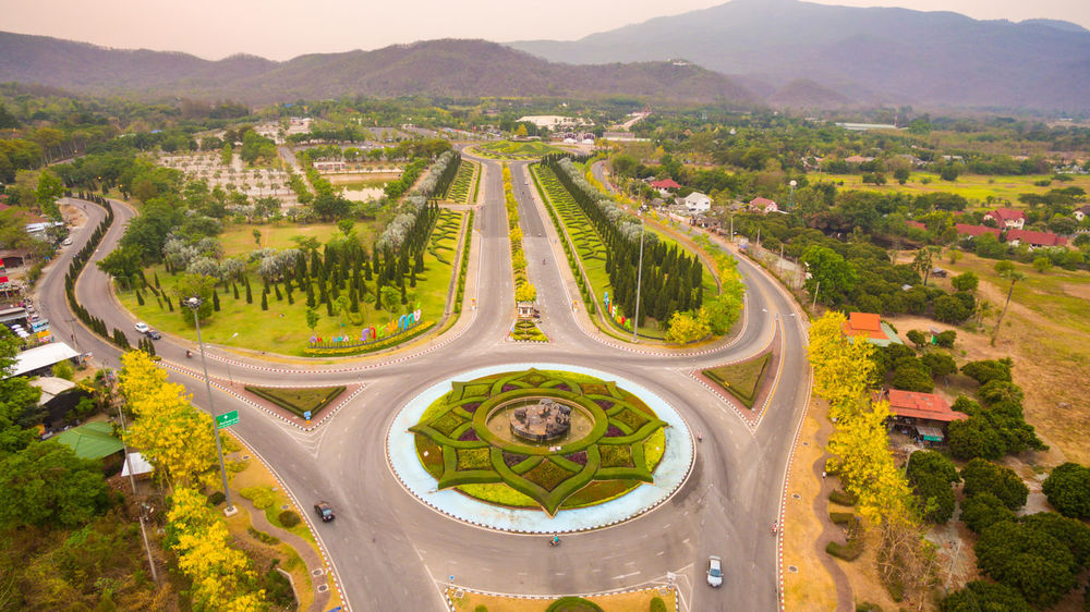 Royal flora ,ChiangMai National Park Aerial View Architecture Built Structure Chiang Mai | Thailand City Day Fame High Angle View Illuminated Mountain No People Outdoors Road Road Roadside Roundabout Art Travel Destinations
