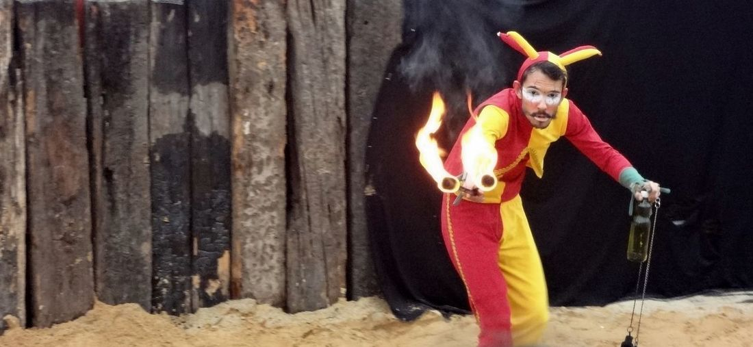 EyeEmNewHere Red Show Us Your Takeaway! Clown Fire Men Motion One Person Real People Torches Yellow