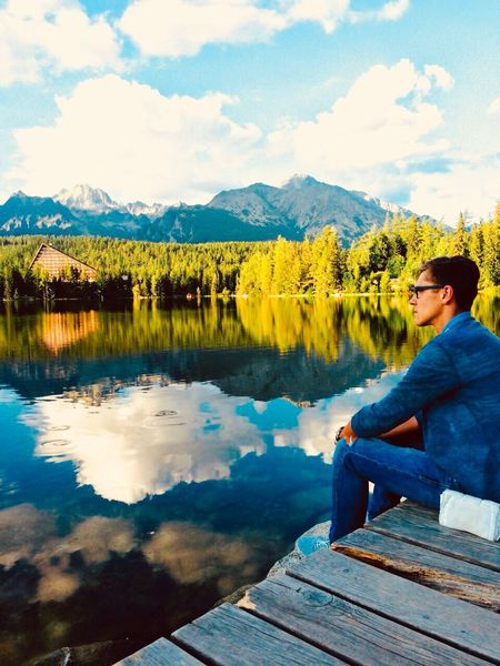 ,,Waiting,, Lake Sitting Sky One Person Mountain Water Nature Lifestyles Young Adult Beauty In Nature Cloud - Sky EyeEmNewHere