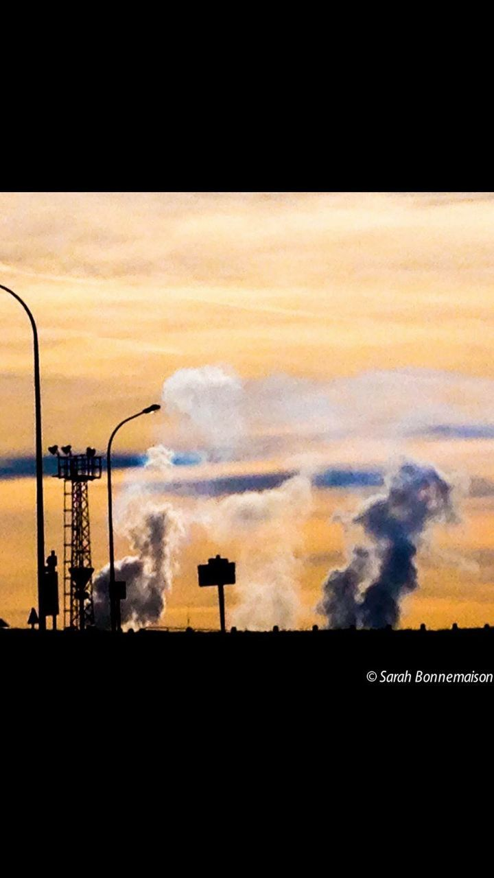 silhouette, smoke stack, factory, smoke - physical structure, pollution, sky, cloud - sky, industry, sunset, no people, built structure, outdoors, architecture, chimney, oil industry, nature, building exterior, day, oil pump