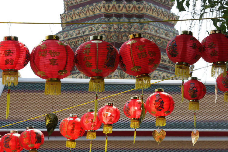 Architecture Culture Hanging Lantern Place Of Worship Red Spotted In Thailand Temple - Building Tradition