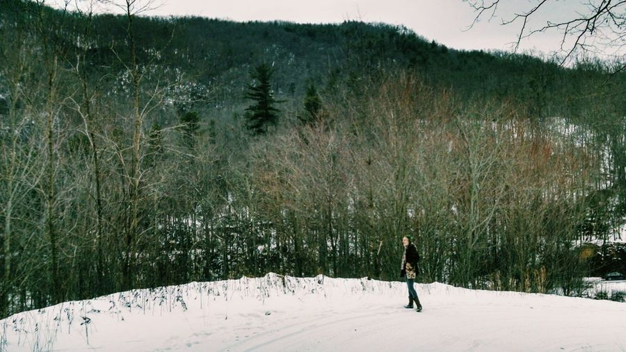 Snow Winter Cold Temperature Landscape Tranquil Scene Mountain Scenics Beauty In Nature Hiking Appalachian Trail Appalachian Mountains Hot Springs, Nc Full Length One Person Woman Tranquility Field Outdoors Remote Non-urban Scene Nature Season  Tree Winter Winterscapes