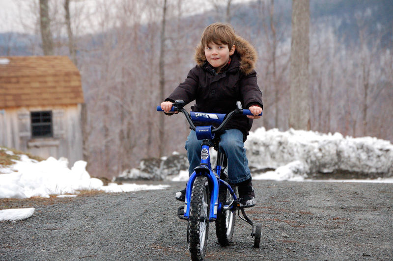 Spring is Almost Here Bicycle Boys Casual Clothing Childhood Cold Temperature Elementary Age Front View Innocence Lifestyles Person Spring Thing I Like Winter