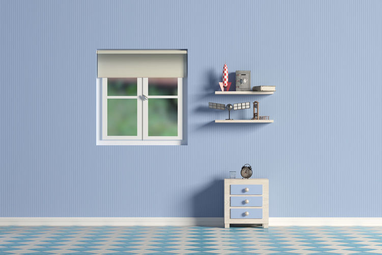 3d rendering of a blue kid room Home Nightstand Room Toys Architecture Blue Building Built Structure Home Interior Kid Room No People Wall - Building Feature Window