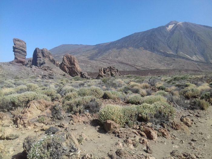 Pico de teide volcano against clear sky at tenerife island