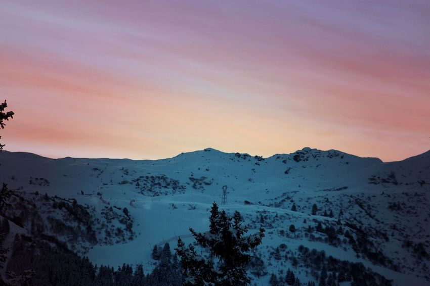Meribel French Alps Mountain Scenics Tranquility Tranquil Scene Beauty In Nature Mountain Range Snow Nature Sunset Sky Idyllic Cold Temperature Non-urban Scene Winter Outdoors Silhouette Landscape Tree No People Mountain Peak