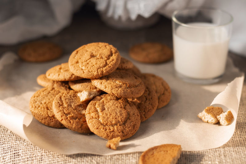 High angle view of cookies in plate on table