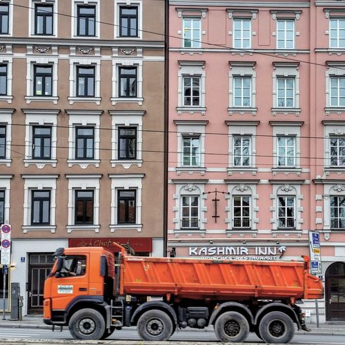 Red Transportation Building Exterior City Architecture No People Day Cityscape City Brick Wall Trucks🚛🚒🚚⚠ Streetphotography City Life Winter Façade Facades