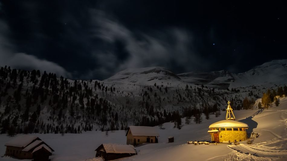 Good night, alps! Snow Winter Night Cold Temperature Mountain Weather Religion Nature Outdoors Snowcapped Mountain Landscape