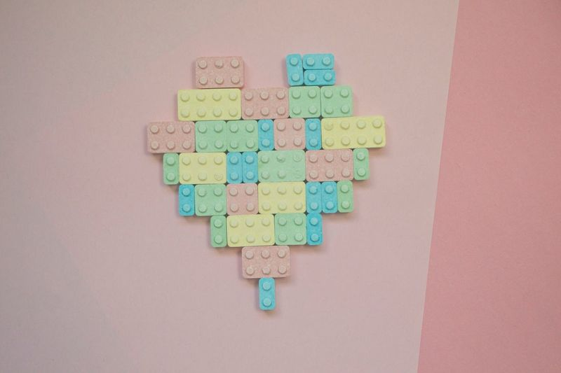 Pastel Power Lego Candy Colourful Heart Pastel Lego Lego Heart Block Heart Arrangement Artistic Photography Pop Photography Pink Background Love Brick Heart Soft Pastel Goth