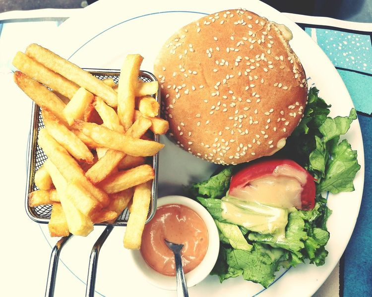 Food Fast Food American Food Hamburger Delicious Lunch Dinner Enjoying A Meal Eating Healthy French Fries