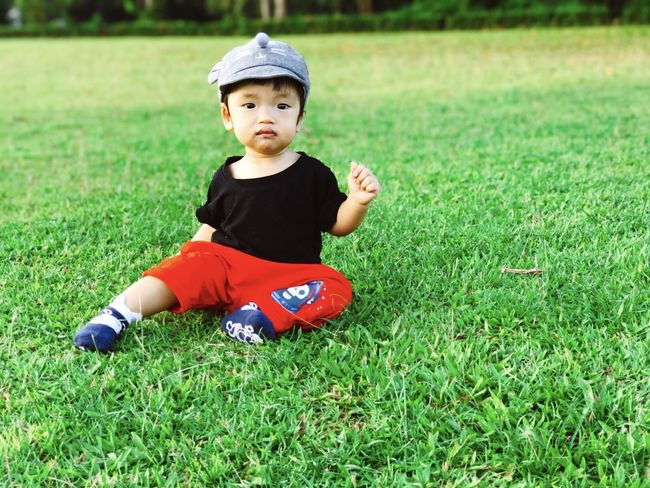 Little baby Travel Playing Still Life School Happiness Future Kids Background Playing ASIA Son Growth People Childhood Grass One Person Boys Full Length Real People Child Field Land Innocence Cute Green Color Leisure Activity Plant Young Sitting Baby