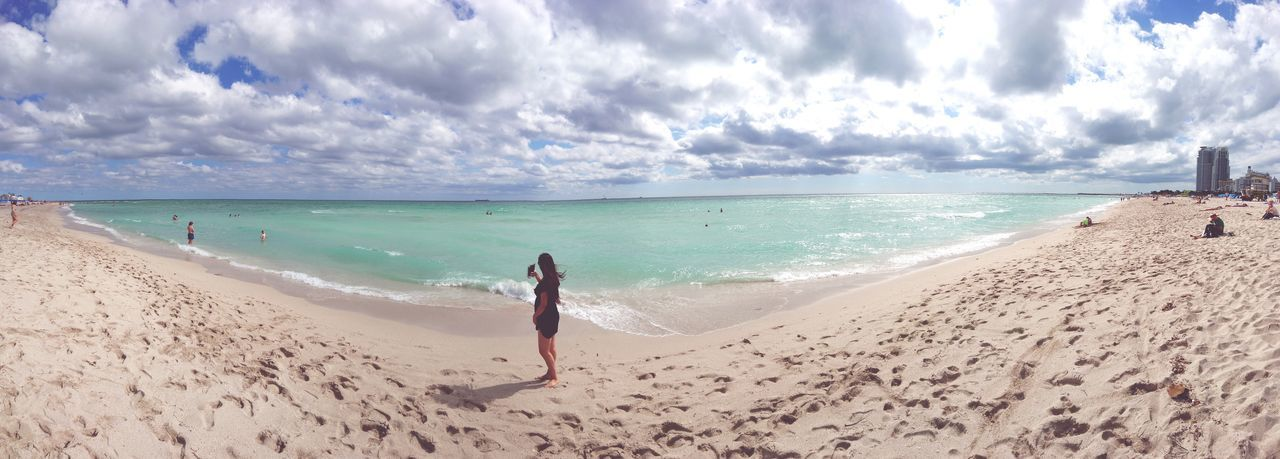 First Eyeem Photo Southbeach Southbeachmiami Miamibeach Beach Sand Sea Cloud - Sky Sky Full Length Horizon Over Water Summer Water One Person Wife Nature Vacations Travel Destinations Wave Outdoors