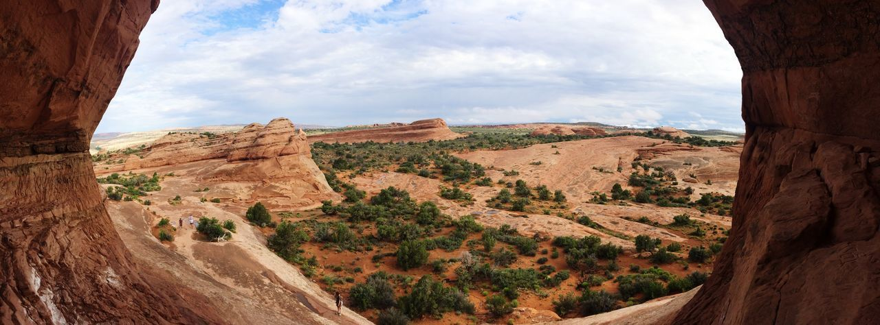 Panoramic view of arches national park seen from cave
