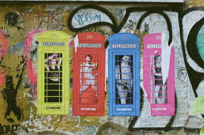 Text Graffiti David Bowie Human Representation Built Structure Architecture No People Day Outdoors Building Exterior Telephone Booth Close-up 35mm Film Berlin Available Light Streetart Film