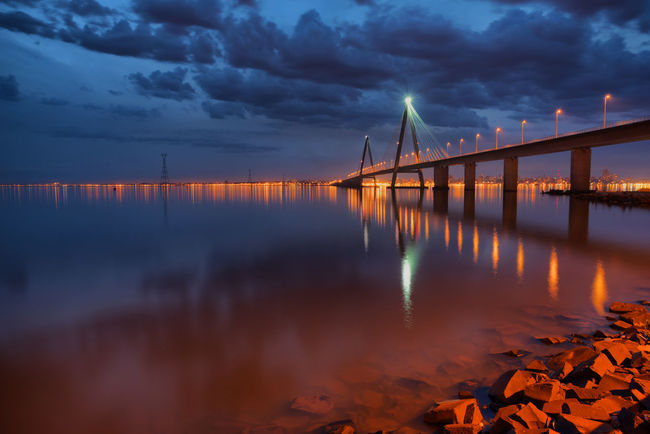 Lighting Equipment Posadas Architecture Bridge - Man Made Structure Encarnacion Illuminated Night Reflection