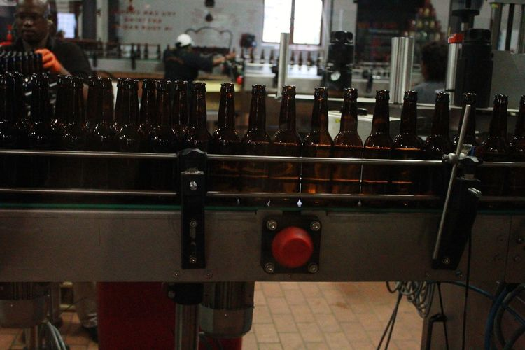 Bottling Beer Bottles !!!! Bottles Of Beer Bottles Packing Fillingup Filling Redbutton Button Red Empty Manual Worker Indoors  No People Day