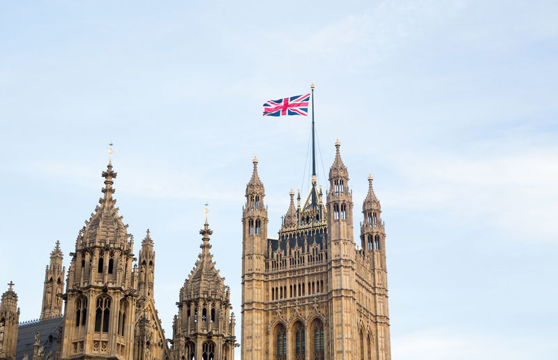 Palace of Westminster in London London Palace Of Westminster Postcode Postcards United Kingdom Architecture British Flag Building Exterior Flag Government Houses Of Parliament Travel Destinations Union Jack