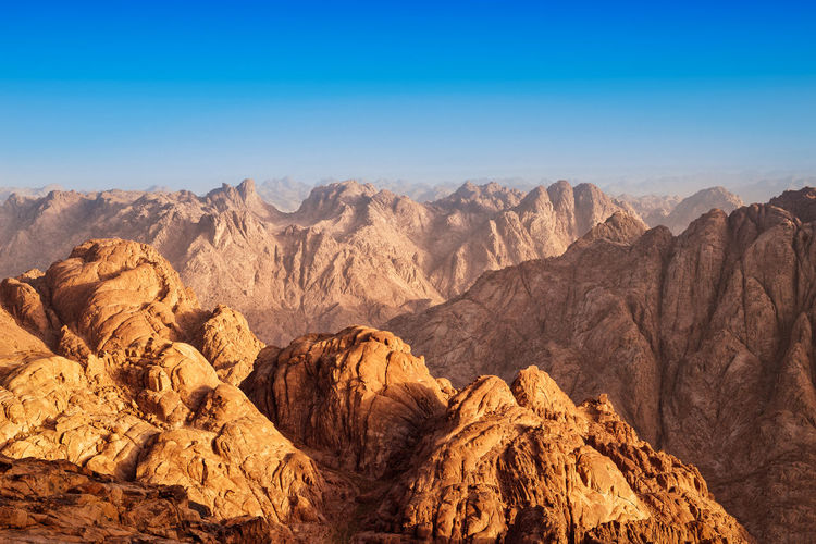 Rocks of holy ground mount sinai in early morning,egypt