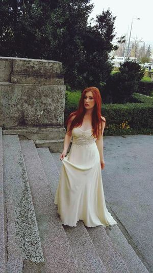 Redhead Dress Only Women One Person Adult White Color One Young Woman Only Long Hair One Woman Only Young Adult Outdoors Street Wedding Dress People Young Women Adults Only Road Portrait Bride Day Sky Sarajevo Bosnia I Herzegovina