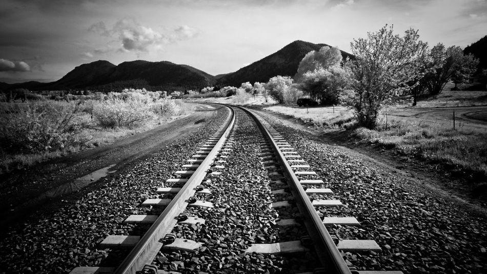 Landscape Railway Blackandwhite